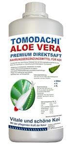 Tomodachi Aloe Vera Direktsaft für Koi stärkt das Immunsystem der Fische und hält die Koi gesund.